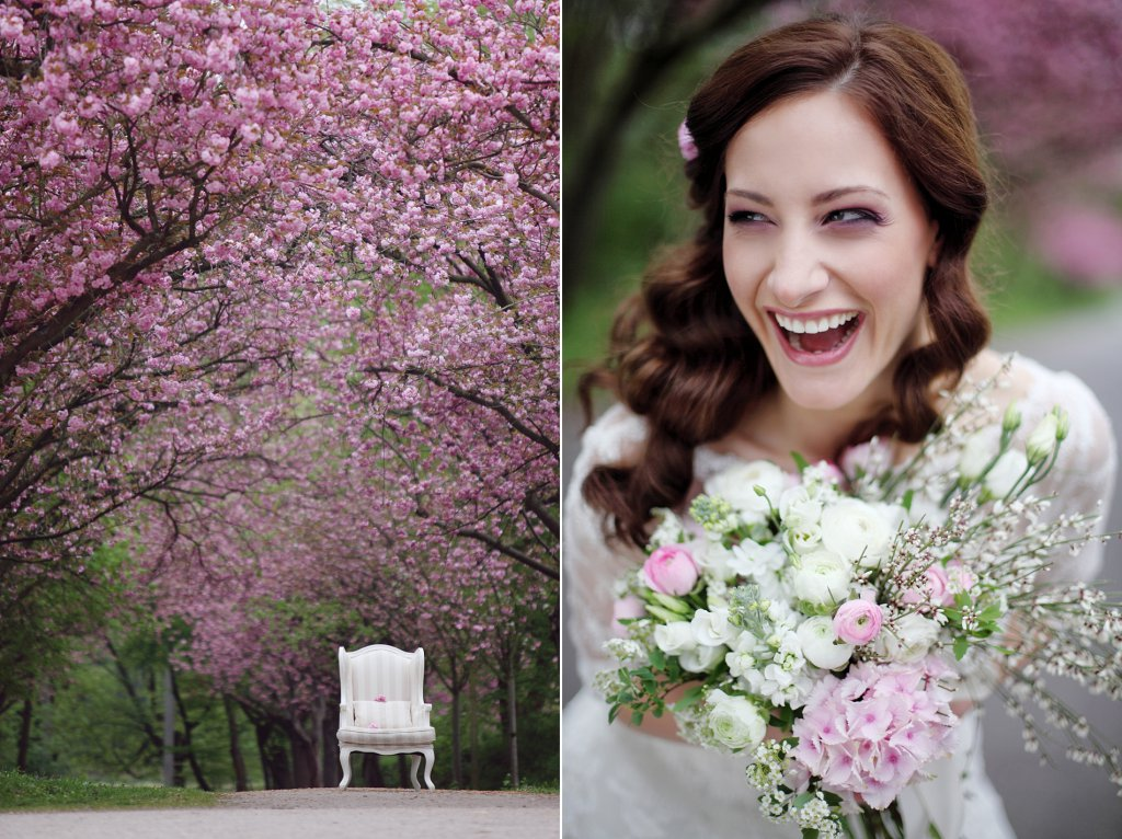 Photo alley with cherry blossom trees and a white armchair