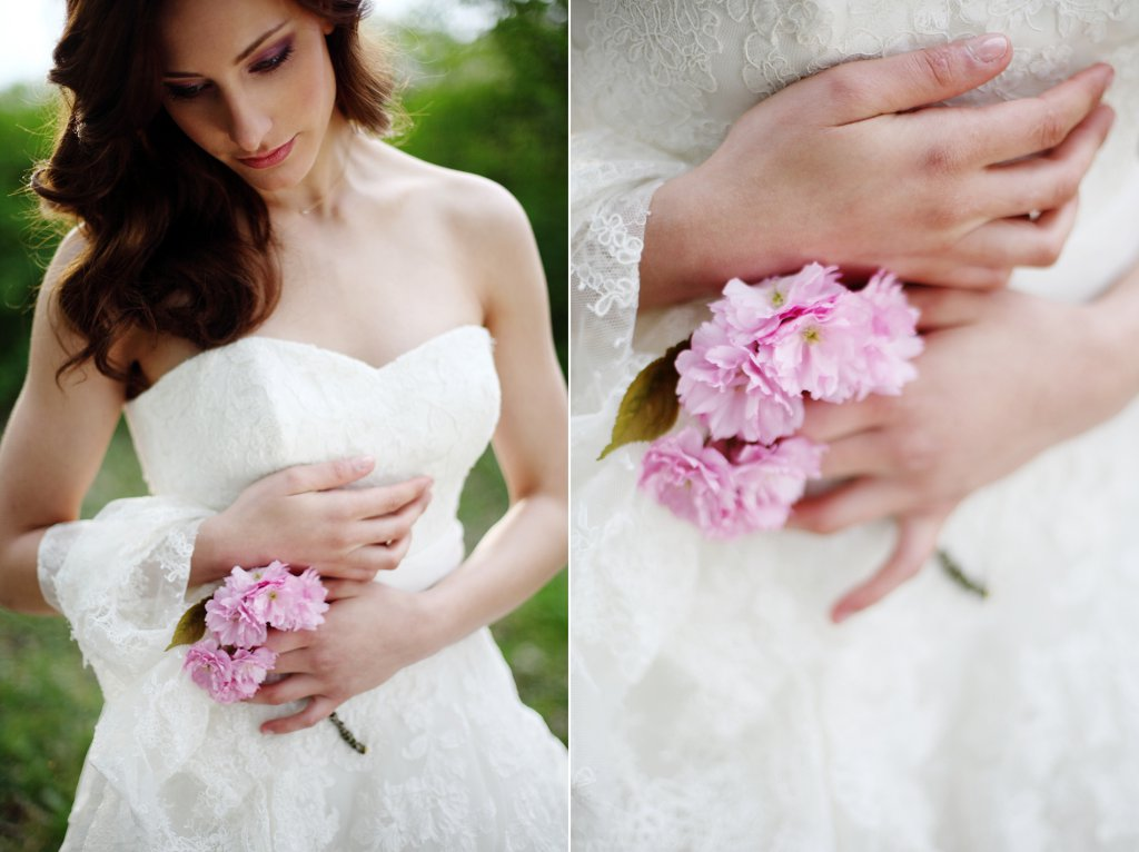 Photo Braut mit Kirschblüten