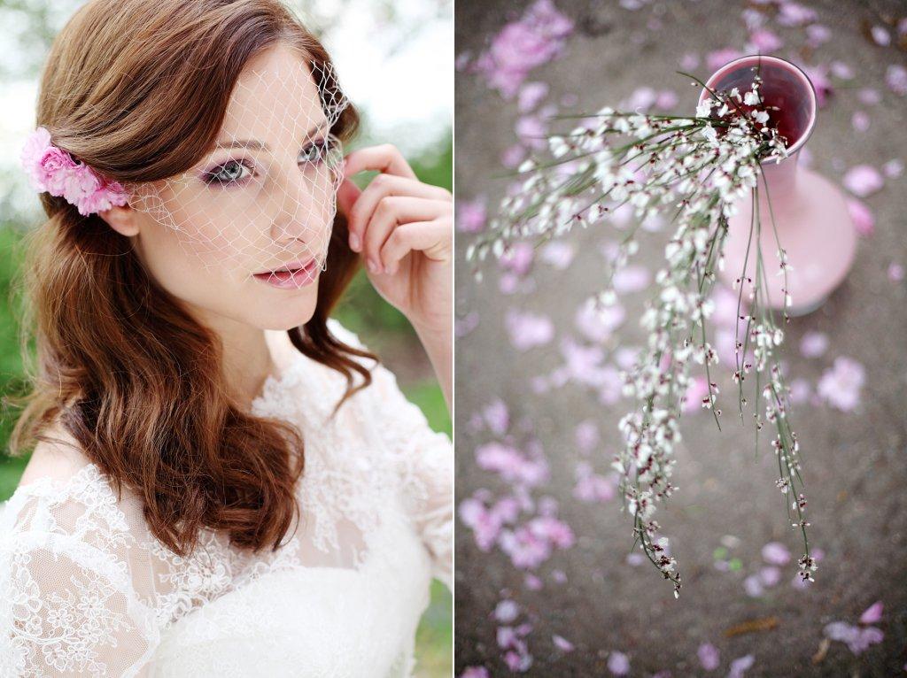Photo Sinnliche Braut mit Kirschblüten in der Hand