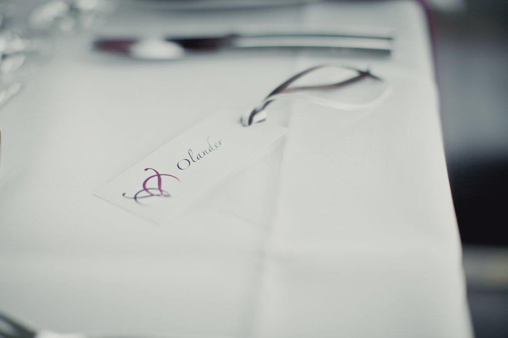 Photo Platzkarte mit Satinbändern in braun und weiss.