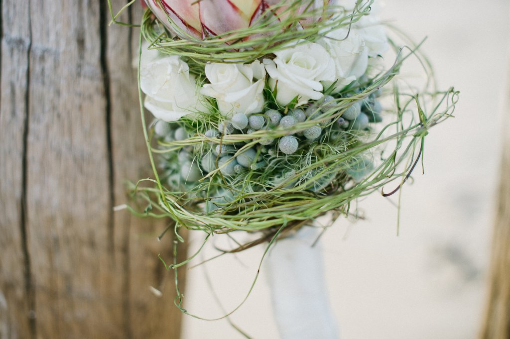 Photo wedding bouquet with protea