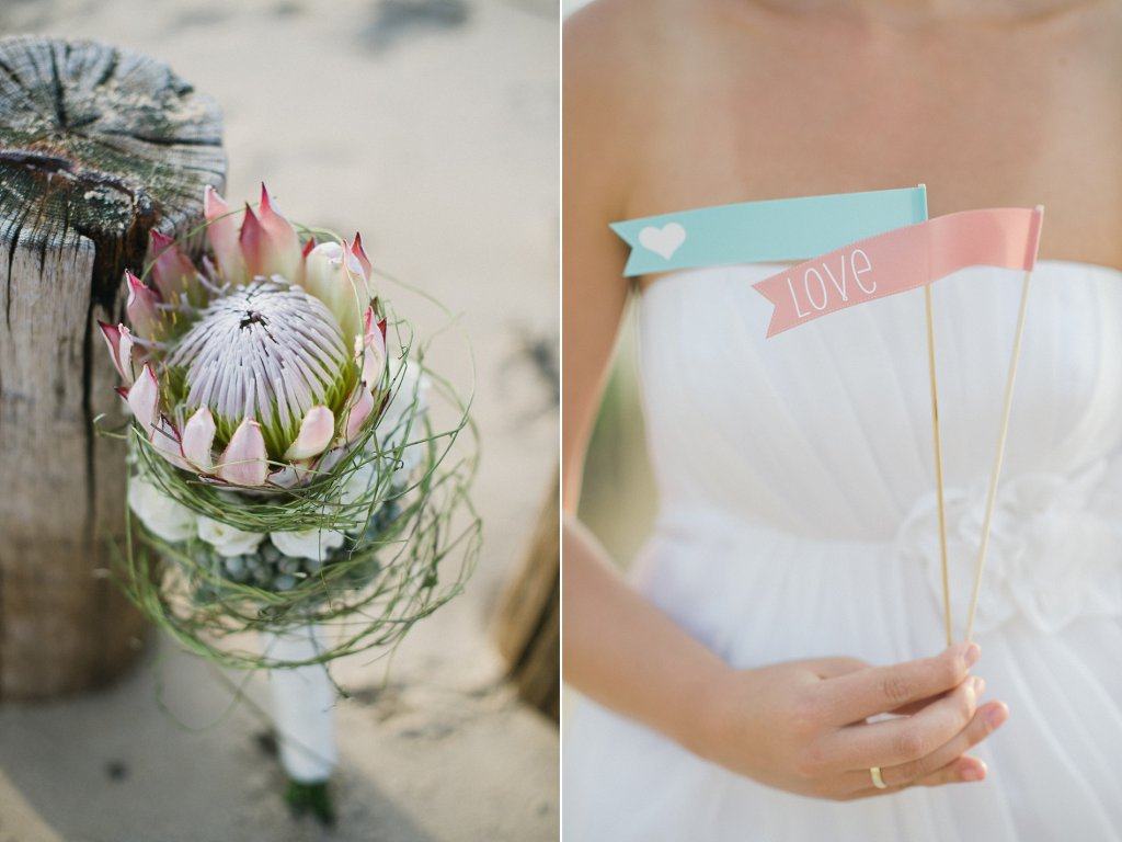 Photo close-up of wedding bouquet at the beach