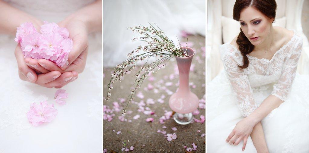 Braut hält Kirschblüten, sinnlich