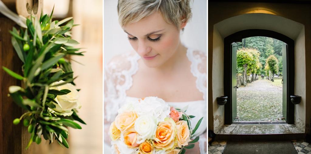 Kirchen- und Blumendekor zur Hochzeit mit Olivenzweigen